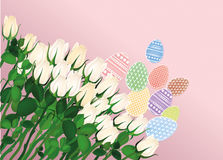 χρωματισμένο πρότυπο αυγών Πάσχας σχεδίου όμορφο λευκό λουλουδιών Στοκ φωτογραφία με δικαίωμα ελεύθερης χρήσης