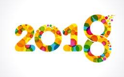 Χρωματισμένο πρότυπο σχεδίου καλής χρονιάς αριθμού 2018 Στοκ εικόνα με δικαίωμα ελεύθερης χρήσης