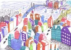 χρωματισμένο πόλη σχέδιο ένν& Στοκ Εικόνα