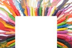 Χρωματισμένο πλαίσιο από τα μολύβια στοκ φωτογραφίες