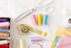 Χρωματισμένο ράβοντας νήμα, προμήθειες για τη ράβοντας μηχανή στο λευκό Στοκ Φωτογραφίες