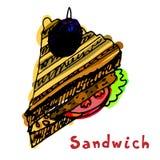 Χρωματισμένο σάντουιτς με patty μπριζολών tomatocutlet ψωμιού meatbal Απεικόνιση αποθεμάτων
