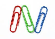 χρωματισμένο συνδετήρες τρίο Στοκ Εικόνα