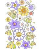 Χρωματισμένο σχέδιο παιδιών ` s λουλουδιών τυποποιημένο εύθυμο, άνευ ραφής vect Στοκ εικόνες με δικαίωμα ελεύθερης χρήσης