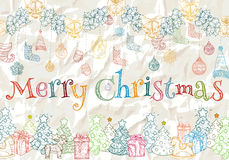 Χρωματισμένο σχέδιο για το νέα έτος και τα Χριστούγεννα Στοκ Φωτογραφίες