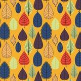 Χρωματισμένο σχέδιο στο θέμα φύλλων Σχέδιο φθινοπώρου Στοκ Εικόνα