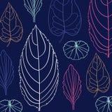Χρωματισμένο σχέδιο στο θέμα φύλλων Σχέδιο φθινοπώρου Στοκ εικόνα με δικαίωμα ελεύθερης χρήσης