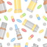 Χρωματισμένο σχέδιο χαπιών και φαρμάκων Στοκ Εικόνες