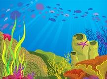 χρωματισμένο σχολείο σκοπέλων ψαριών κοραλλιών Ελεύθερη απεικόνιση δικαιώματος