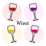 Χρωματισμένο σύνολο γυαλιών κρασιού διάνυσμα απεικόνιση αποθεμάτων