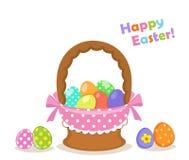 χρωματισμένο το καλάθι σύνολο αυγών Πάσχας απομόνωσε το λευκό Στοκ εικόνα με δικαίωμα ελεύθερης χρήσης