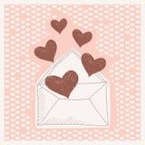Χρωματισμένο υπόβαθρο με μια επιστολή, και καρδιές Στοκ Εικόνες