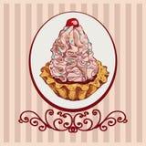 Χρωματισμένο υπόβαθρο με το ρόδινο κέικ Στοκ Εικόνες