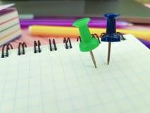 Χρωματισμένο υπόμνημα εγγράφου Pushpin σημειωματάριο Στοκ Εικόνα
