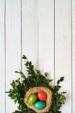 Χρωματισμένο φωλιά στεφάνι αυγών στο άσπρο ξύλινο υπόβαθρο σανίδων Στοκ φωτογραφία με δικαίωμα ελεύθερης χρήσης