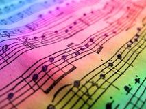 Χρωματισμένο φύλλο μουσικής Στοκ φωτογραφία με δικαίωμα ελεύθερης χρήσης