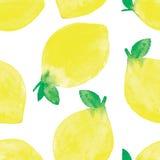 Χρωματισμένο χέρι άνευ ραφής σχέδιο watercolor με τα λεμόνια Στοκ εικόνες με δικαίωμα ελεύθερης χρήσης