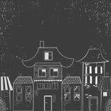 Χρωματισμένο χέρι αφηρημένο υπόβαθρο της πόλης διανυσματική απεικόνιση