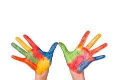 Χρωματισμένο χέρι παιδί Στοκ Φωτογραφία