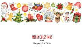 Χρωματισμένο χέρι υπόβαθρο watercolor με τα στοιχεία για τη Χαρούμενα Χριστούγεννα και καλή χρονιά Στοκ εικόνες με δικαίωμα ελεύθερης χρήσης