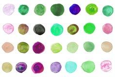 χρωματισμένο χέρι watercolor κύκλων Στοκ εικόνα με δικαίωμα ελεύθερης χρήσης