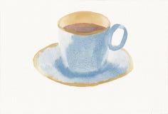 Χρωματισμένο χέρι watercolor της φλυτζάνας τσαγιού και του πιατακιού Στοκ εικόνα με δικαίωμα ελεύθερης χρήσης