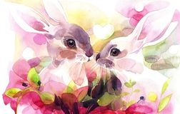 Χρωματισμένο χέρι watercolor Το ζεύγος των κουνελιών στις ρομαντικές τοποθετήσεις διανυσματική απεικόνιση