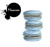 Χρωματισμένο χέρι watercolor Macarons Στοκ Εικόνα