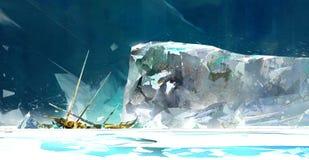 Χρωματισμένο χειμερινό τοπίο με τον παγετώνα και το σκάφος διανυσματική απεικόνιση