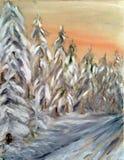 Χρωματισμένο χειμερινό τοπίο με το δασικό δρόμο στο χιόνι κάτω από τον κόκκινο ουρανό διανυσματική απεικόνιση