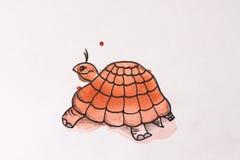 Χρωματισμένο χελώνα watercolor Στοκ εικόνα με δικαίωμα ελεύθερης χρήσης