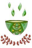 Χρωματισμένο Doodle σχέδιο φλυτζανιών τσαγιού Στοκ Φωτογραφία