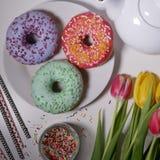 χρωματισμένο doughnut με ψεκάζει Στοκ Εικόνες