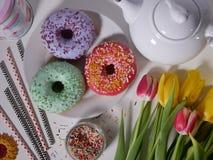χρωματισμένο doughnut με ψεκάζει Στοκ εικόνες με δικαίωμα ελεύθερης χρήσης
