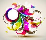 χρωματισμένο floral πλαίσιο σύγ Στοκ Φωτογραφία