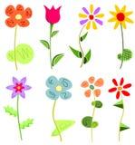 Χρωματισμένο floral σύνολο Στοκ φωτογραφία με δικαίωμα ελεύθερης χρήσης