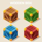 Χρωματισμένο isometric ξύλινο εικονίδιο κιβωτίων Στοκ Εικόνα