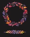 Χρωματισμένο Watercolor σύνολο διακοσμητικών στοιχείων, αφηρημένα φύλλα με τα μούρα Στοκ εικόνες με δικαίωμα ελεύθερης χρήσης