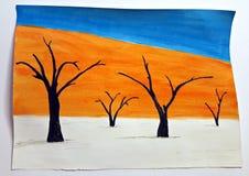 Χρωματισμένο Watercolor τοπίο - κοιλάδα θανάτου Στοκ φωτογραφία με δικαίωμα ελεύθερης χρήσης