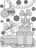 Χρωματισμός αντιαγχωτικός για τους ενηλίκους Γραπτά διακοσμητικά κιβώτια περιγράμματος με τα δώρα και snowflakes Στοκ φωτογραφία με δικαίωμα ελεύθερης χρήσης