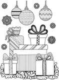 Χρωματισμός αντιαγχωτικός για τους ενηλίκους Γραπτά διακοσμητικά κιβώτια περιγράμματος με τα δώρα και snowflakes Στοκ εικόνες με δικαίωμα ελεύθερης χρήσης