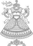 Χρωματισμός αντιαγχωτικός για τους ενηλίκους Γραπτό διακοσμητικό φόρεμα περιγράμματος Στοκ φωτογραφίες με δικαίωμα ελεύθερης χρήσης