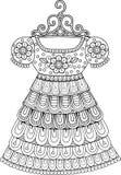 Χρωματισμός αντιαγχωτικός για τους ενηλίκους Γραπτό διακοσμητικό φόρεμα περιγράμματος Στοκ Εικόνα