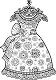 Χρωματισμός αντιαγχωτικός για τους ενηλίκους Γραπτό διακοσμητικό φόρεμα περιγράμματος Στοκ φωτογραφία με δικαίωμα ελεύθερης χρήσης