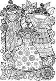 Χρωματισμός αντιαγχωτικός για τους ενηλίκους Γραπτό διακοσμητικό φόρεμα περιγράμματος Στοκ Εικόνες