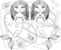 Χρωματισμός για τους ενηλίκους και τα παιδιά Σελίδα για το χρωματισμό με δύο γοργόνες ελεύθερη απεικόνιση δικαιώματος