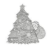 Χρωματισμός για το χριστουγεννιάτικο δέντρο ενηλίκων Στοκ Φωτογραφίες