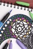 Χρωματισμός ενός mandala Στοκ εικόνες με δικαίωμα ελεύθερης χρήσης
