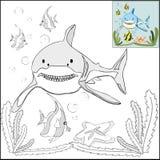 Χρωματισμός με τα πρότυπα - καρχαρίας στη θάλασσα απεικόνιση αποθεμάτων