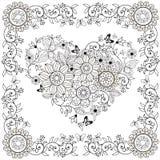 Χρωματισμός της διακοσμητικής καρδιάς βιβλίων των λουλουδιών και των πεταλούδων στο floral πλαίσιο επίσης corel σύρετε το διάνυσμ ελεύθερη απεικόνιση δικαιώματος